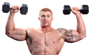 bodybuilder with dumbells and muscles