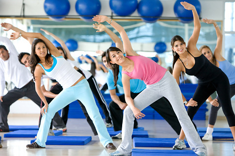 women in workout class